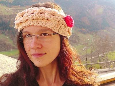 Rapunzel Stirnband tunesische Linkshänder Häkelanleitung Schachenmayr select CABARÉ
