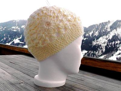 Wooly Flower Granny Square Mütze häkeln lernen für Linkshänder - Rosy Green Wool