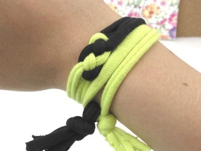 Armband mit Knoten aus Stoffstreifen. einfaches aber schickes Armband selber machen. Anleitung DIY