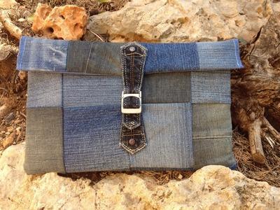 Laptop. Ipad Sleeve aus Jeans Patchwork