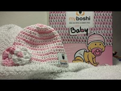 Myboshi Baby Mütze häkeln mit Blümchen für Linkshänder