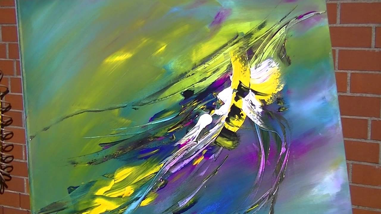 Abstract Painting Demonstration Abstrakte Acrylmalerei Bumblebee at Springtime