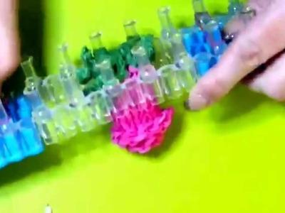 Meine Rainbow Loom 3D Rose von Lachtäubchen