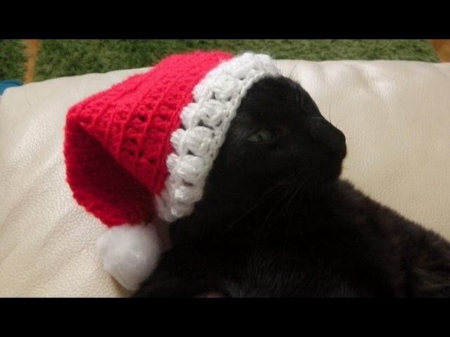 Weihnachtsmann. Nikolaus Mütze häkeln lernen für Linkshänder