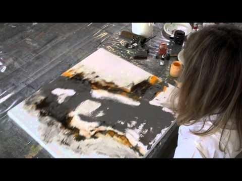 Acrylbild - Marmormehl geschüttet, Pigmente, Golden Flow