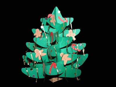 Papier 3d weihnachtsbaum aus papier basteln spiralen for Bastelanleitung baum aus papier
