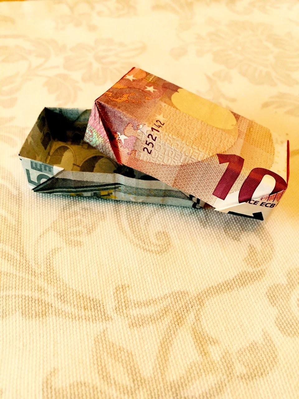 Kiste aus Geld falten - Päckchen aus Scheinen falten - Origami Geschenke