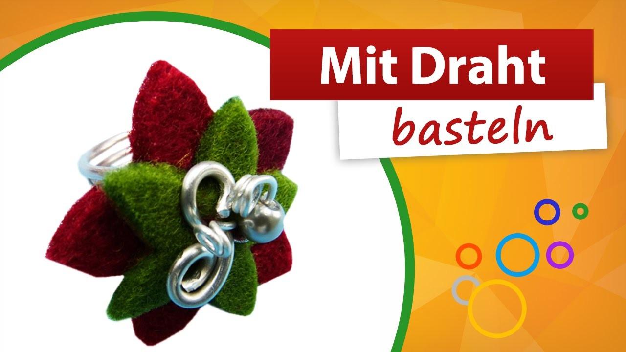 ♥ Mit Draht basteln ♥ Schmuckring basteln aus Aludraht - trendmarkt24
