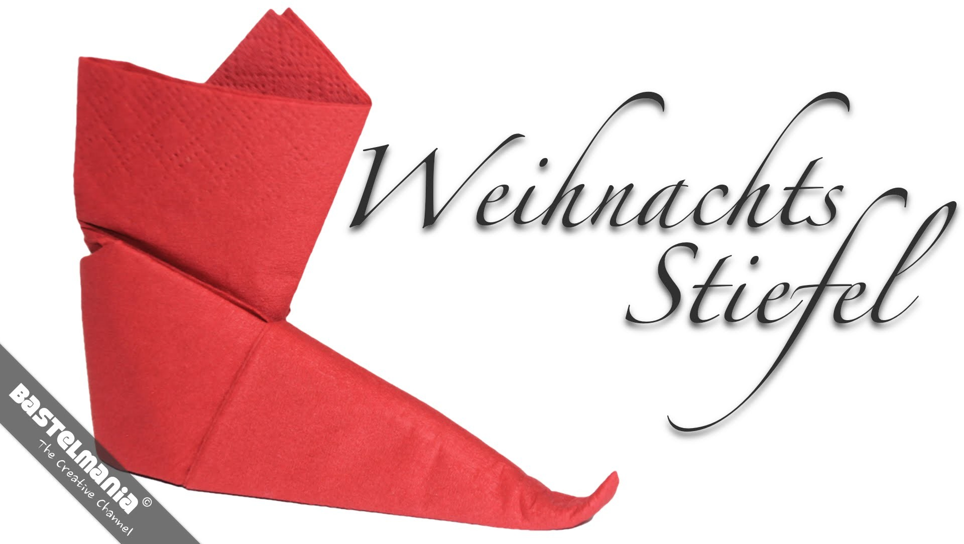 servietten falten anleitung stiefel weihnachten diy napkin folding instruction boots. Black Bedroom Furniture Sets. Home Design Ideas
