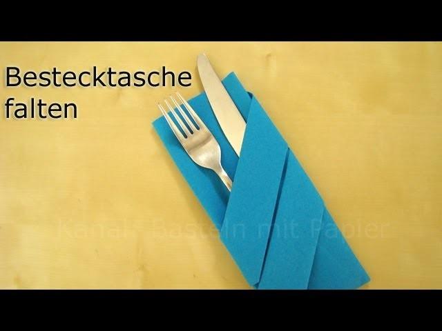 Servietten falten: Bestecktasche falten z.B. für Hochzeit - DIY Deko