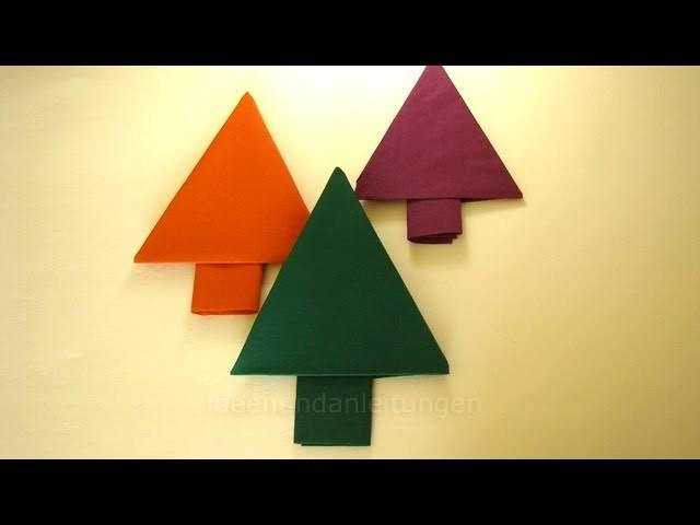 weihnachtsdeko basteln servietten falten tannenbaum. Black Bedroom Furniture Sets. Home Design Ideas