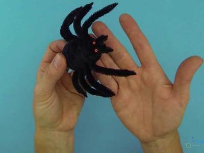 Basteln mit Pfeifenputzern - Spinne für Halloween