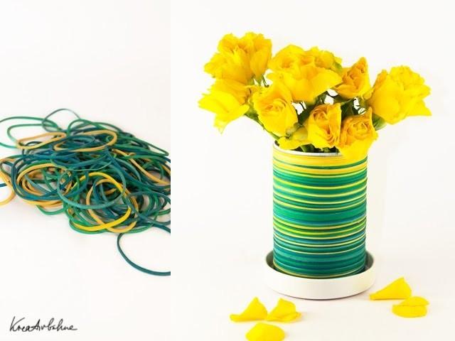 DIY Vase: Aus Gummiringen eine Vase basteln