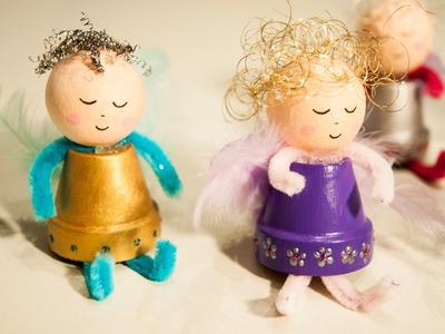 Engel aus Tontopf basteln - Deko für Weihnachten