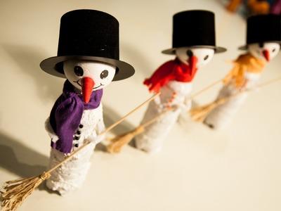 Schneemann-Deko für Weihnachten basteln