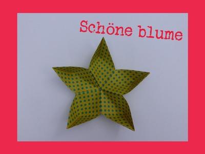 Schöne origami blume aus papier - sehr einfach falten - faltanleitung - 5 blätter- basteln