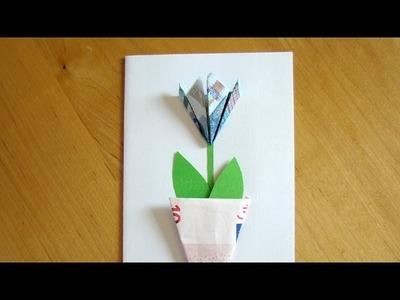Geldschein falten Blume - Einfache Geldgeschenke basteln z.B. für Hochzeit