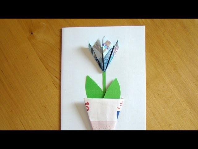 Geldschein falten Blume - Einfache Geldgeschenke basteln z