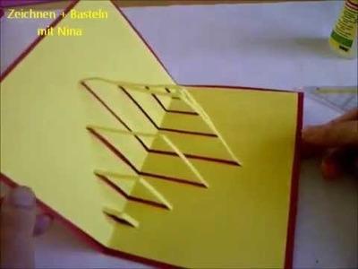 Kirigami Pop-Up Karte.  Sehr einfach. Bastelidee für Muttertag, Vatertag oder Geburtstag.