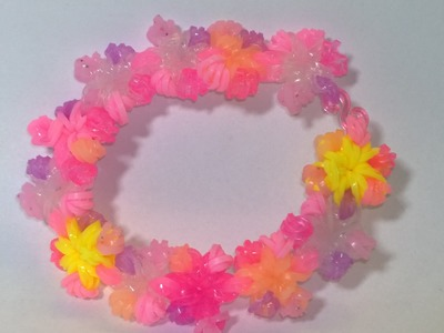 Rainbow Loom Flower Bracelet for Easter Loom bands flower bracelet-Easter edition