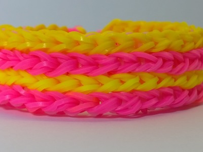 Rainbow Loom Four Row Bracelet with Two Forks-loom bands four row armband No Loom