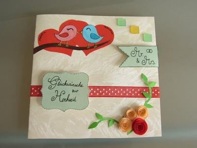 [Tutorial] Hochzeitskarte zum Aufklappen mit Mini-Briefumschlag