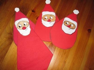 WEIHNACHTSBASTELN: Nikolaus als Serviettenhalter basteln - Bastelideen Weihnachten - Weihnachtsdeko