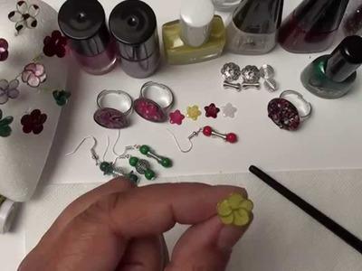 DIY Basteln mit Nagellack. Ring mit Blume aus Draht u. Nagellack