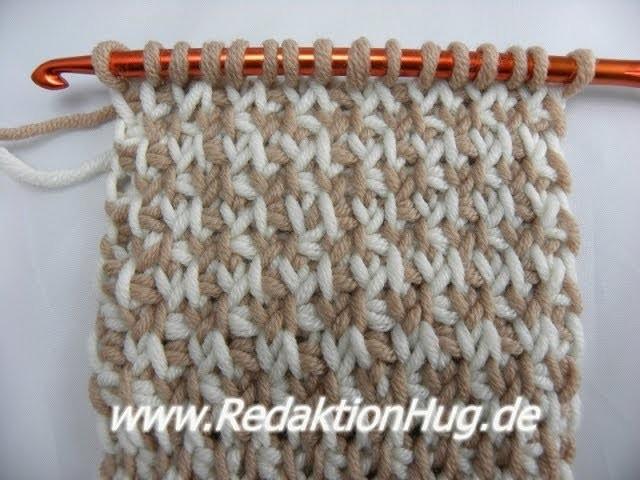 Tunesisch Häkeln - Hahnentritt-Muster mit verdrehtem Grundstich