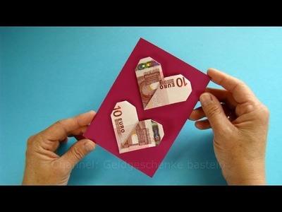Geldgeschenke verpacken: Geldscheine falten Herz