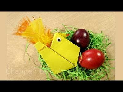 Osterbasteln mit Kindern: Hühner falten mit Papier - leichtes Origami - Basteln