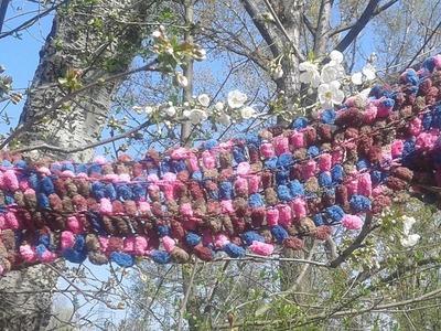 Schal mit Bommel Wolle stricken - Anleitung mit Pompon Wolle