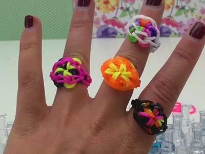 DIY Loom Bands Ring deutsche Anleitung Flower Rainbow Loom Ring Charm mit Board und Häkelnadel