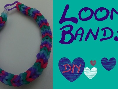 DIY Rundes vierfarbiges Loom Band. Rainbow Loom Armband. Anleitung