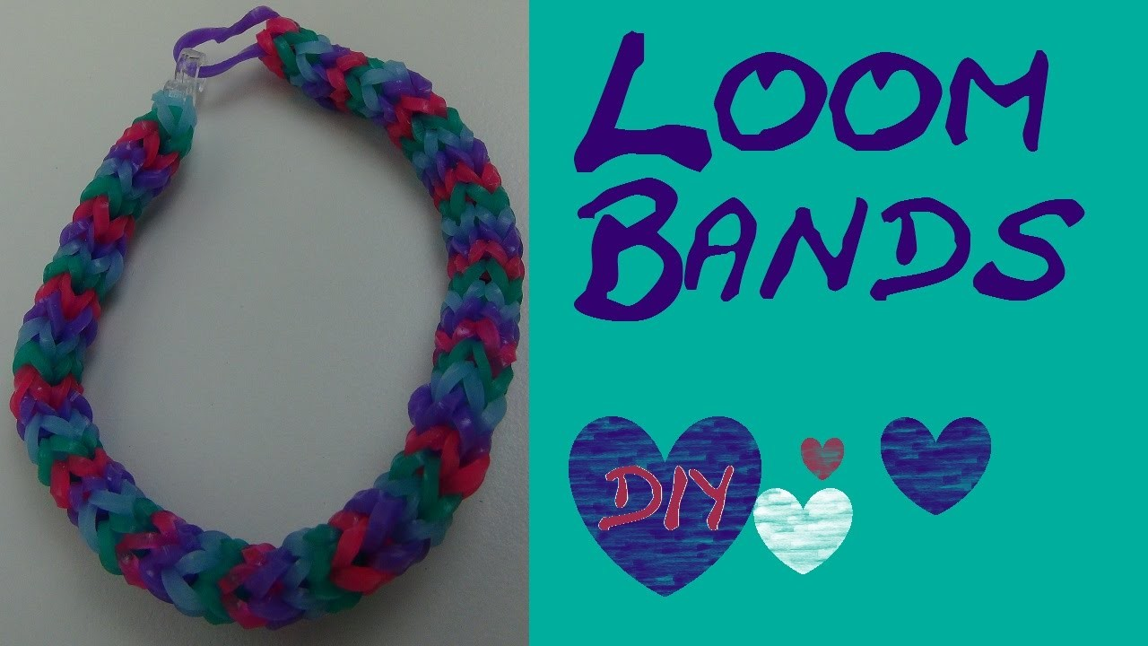 DIY Rundes vierfarbiges Loom Band. Rainbow Loom Armband. Anleitung