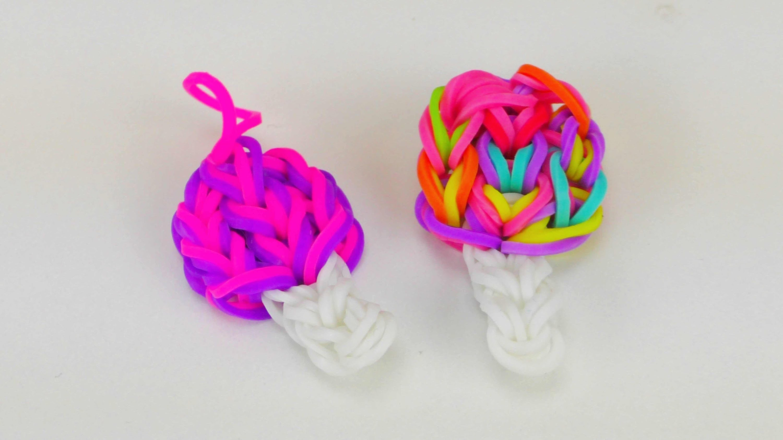 Lollipop Loom Bands Charm. DIY Rainbow Loom Lollipop Anhänger Anleitung | deutsch