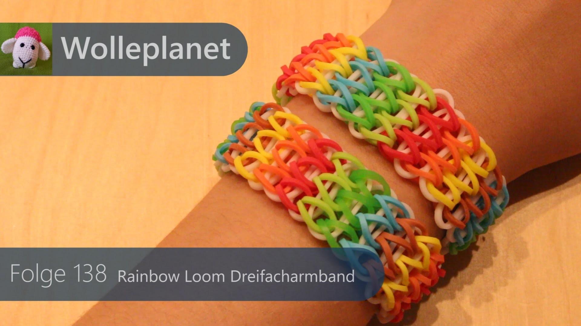 Rainbow Loom Dreifach Armband mit Gabel