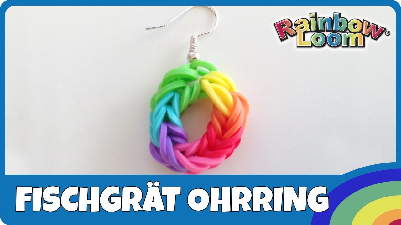 Rainbow Loom Fischgrät-Ohrring- deutsche Anleitung