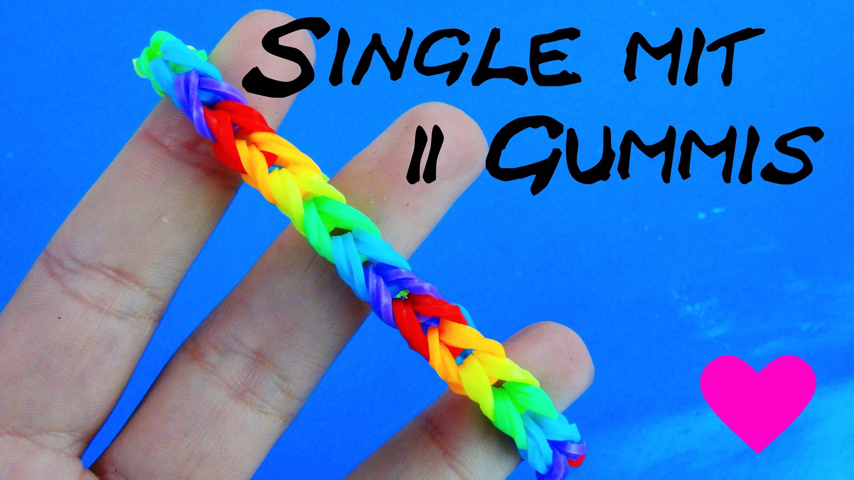 Rainbow Loom Fischgräten Armband Anleitung deutsch DIY Singlefishtail mit 2 Gummis selber machen