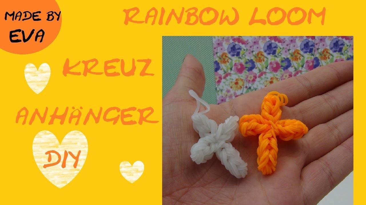 DIY Rainbow Loom charms: Kreuz selber machen, cruz, crux, croix, cross Anhänger Anleitung deutsch