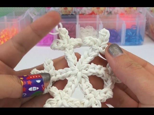 Rainbow Loom Schneeflocke Charm mit HÄKELNADEL Eiskristall Anhänger Tutorial   deutsch