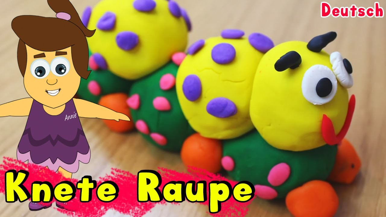 German DIY Einfach: How To Play Doh Caterpillar | Knete Raupe Deutsch