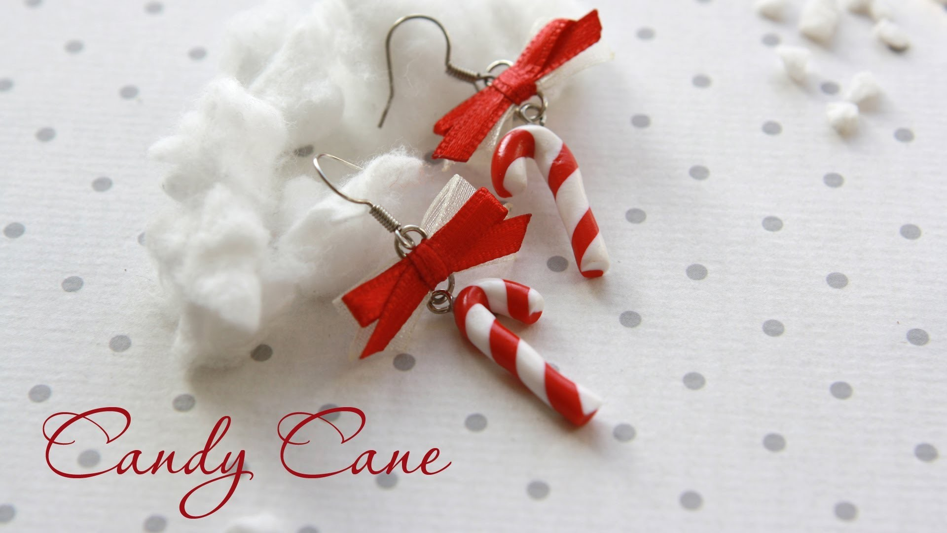 CANDY CANE Earrings  | FIMO Tutorial