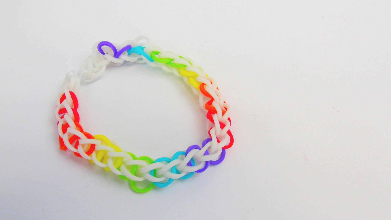 Rainbow Loom Single Armband. Bracelet 8er Single auf dem MonsterTail Loom Tutorial | deutsch