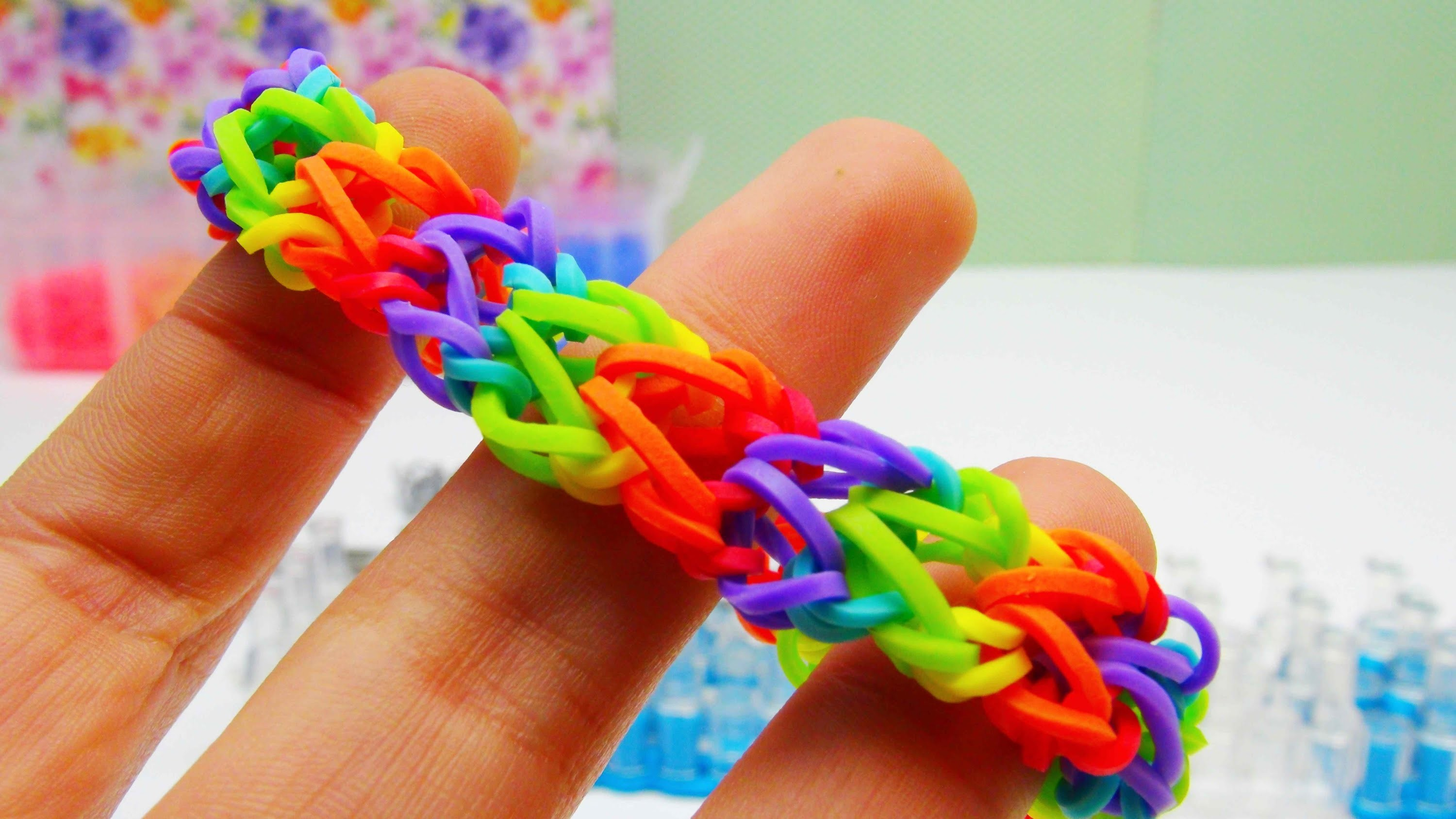 rainbow loom v armband bracelet mit monstertail ohne loom. Black Bedroom Furniture Sets. Home Design Ideas
