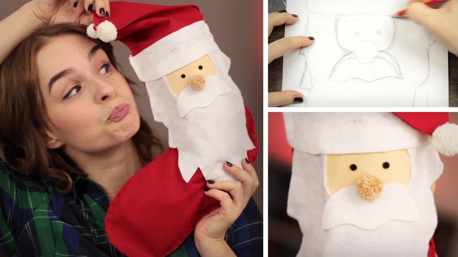 DIY NikolausStrumpf aus Filz - last minute, Hand genäht - Weihnachtssocken