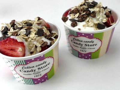 Erdbeer Snack mit Joghurt und Müsli. Gesund Schnell Einfach. Rezept. Strawberries Yogurt