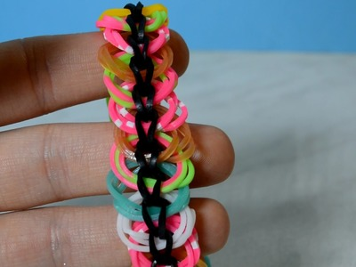 Rainbow Loom Link Chain Bracelet How To Make Triple Link Chain Armband Without Loom. DIY