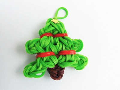 Loom Bands Tannenbaum Charm. Rainbow Loom Christmas Tree Anhänger auf dem Loom Board | deutsch