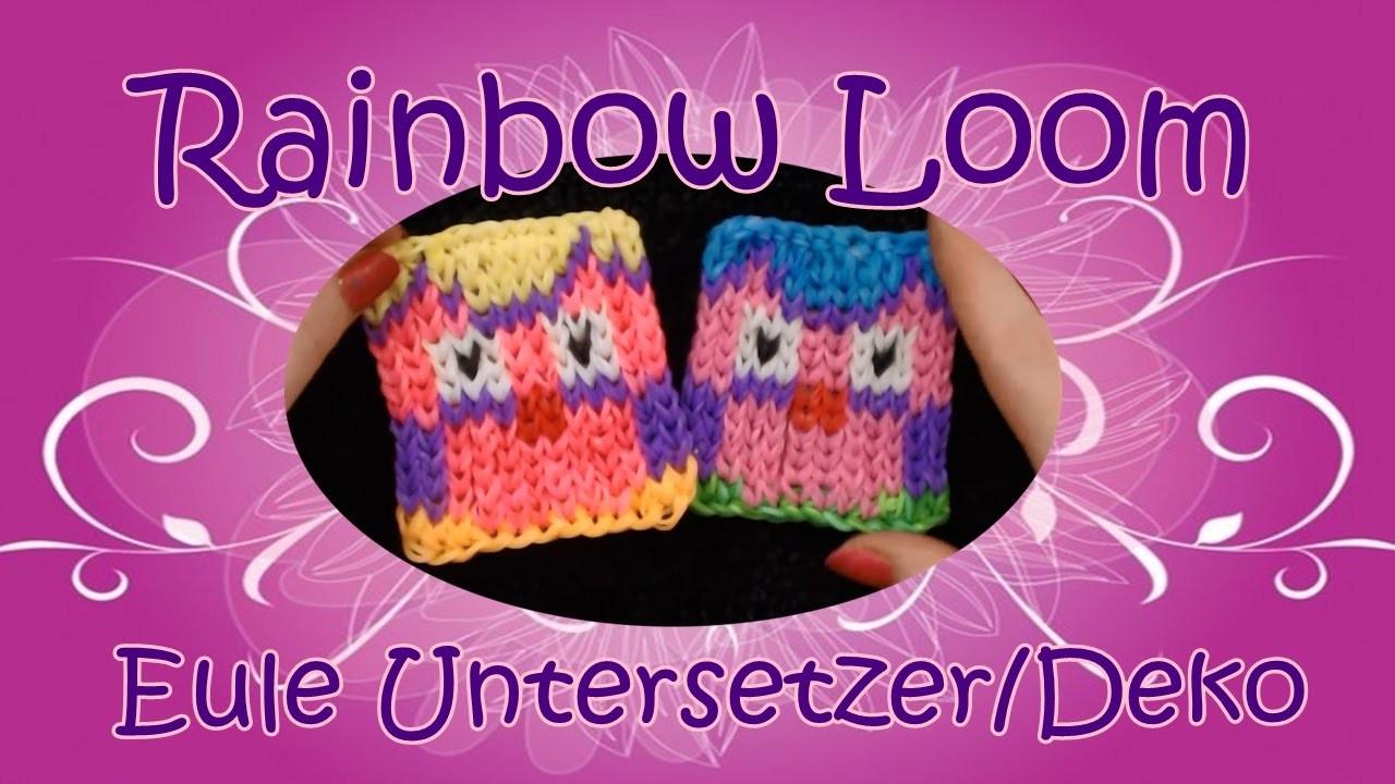 Eule Owl Untersetzer Dekopad. Rainbow Loom. Loom Bands. Anleitung. Tutorial. deutsch